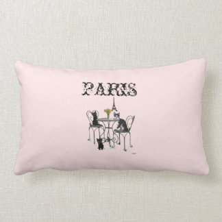 Kittens in Paris Pink Lumbar Pillow
