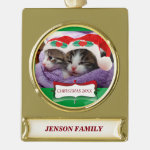 Kittens in Santa Hats Christmas 20XX Ornament