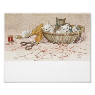Kittens in Sewing Basket Posters