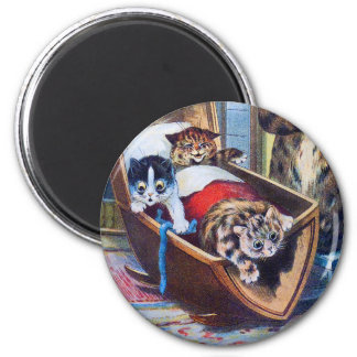 Kittens in the Cradle 2 Inch Round Magnet