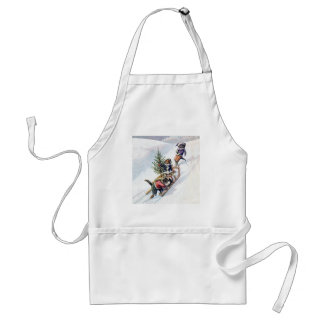 Kittens in the Snow Getting a Christmas Tree Adult Apron