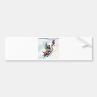 Kittens in the Snow Getting a Christmas Tree Bumper Sticker