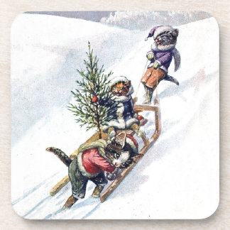 Kittens in the Snow Getting a Christmas Tree Coaster