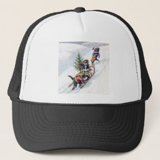 Kittens in the Snow Getting a Christmas Tree Trucker Hat