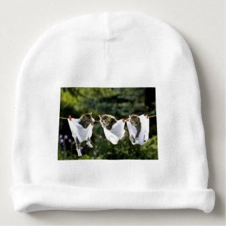 Kittens in underwear on clothesline baby beanie
