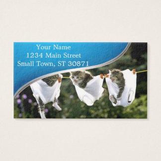 Kittens in underwear on clothesline business card