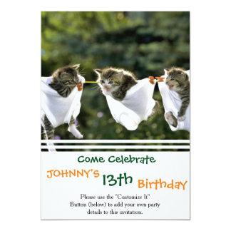 Kittens in underwear on clothesline card