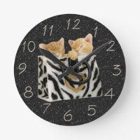 Kittens in Zebra Handbag Black Glitter Clock