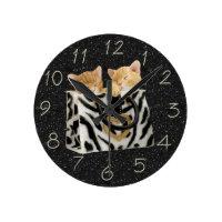 Kittens in Zebra Handbag Black Glitter Clock