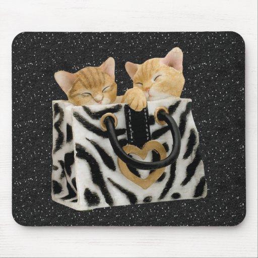 Kittens in Zebra Handbag Black Glitter Mousepad