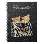 Kittens in Zebra Handbag Black Glitter Notebook
