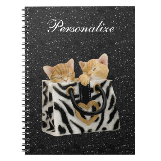 Kittens in Zebra Handbag Black Glitter Notebook