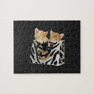 Kittens in Zebra Handbag Black Glitter Puzzle