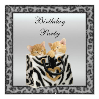 Kittens & Leopard Print Fur Silver Birthday Party 5.25x5.25 Square Paper Invitation Card