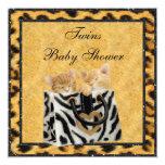 Kittens Leopard Print Neutral Twins Baby Shower Card