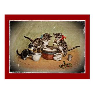 Kittens Making Pudding Postcard