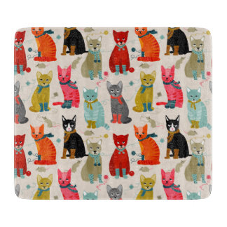Kittens Mittens Cats Ugly Sweater / Andrea Lauren Cutting Board
