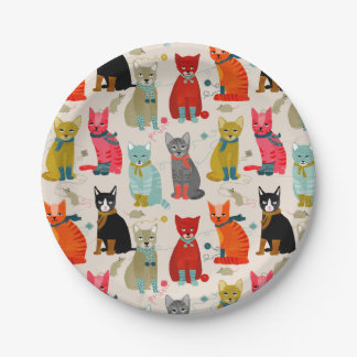 Kittens Mittens Cats Ugly Sweater / Andrea Lauren Paper Plate