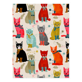 Kittens Mittens Cats Ugly Sweater / Andrea Lauren Postcard