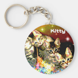 Kittens on a Bed of Flowers Keychain