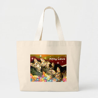 Kittens on a Bed of Flowers Large Tote Bag