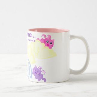 kittens on cloud nine Two-Tone coffee mug
