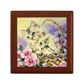 Kittens & Pansies Jewelry Box