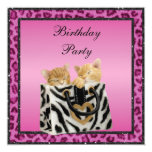 "Kittens & Pink Leopard Print Fur Birthday Party 5.25"" Square Invitation Card"