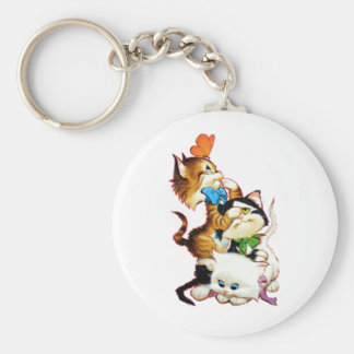 kittens playing basic round button keychain