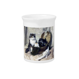 Kittens Playing Feather Basket painting Drink Pitcher