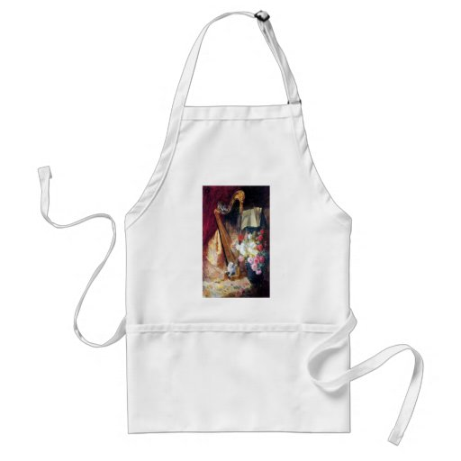 Kittens Playing Harp Music Painting Standard Adult Apron