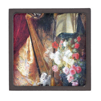 Kittens Playing Harp Music painting Jewelry Box