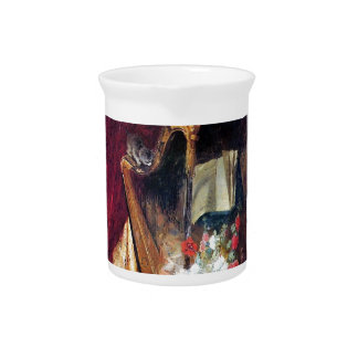 Kittens Playing Harp Music painting Beverage Pitcher