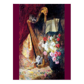 Kittens Playing Harp Music painting Postcard