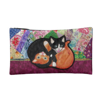 Kittens Playing On Heirloom Quilt Cosmetic Bag