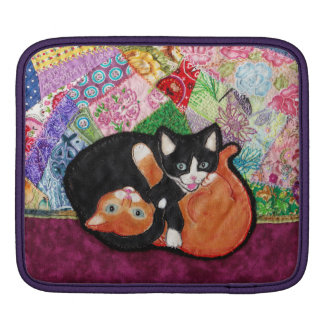 Kittens Playing On Heirloom Quilt iPad Sleeves