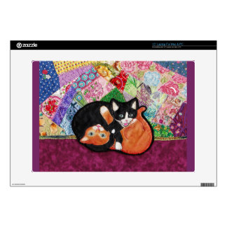 Kittens Playing on Heirloom Quilt Laptop Skin