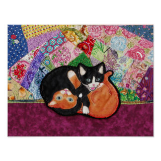 Kittens playing on heirloom quilt poster