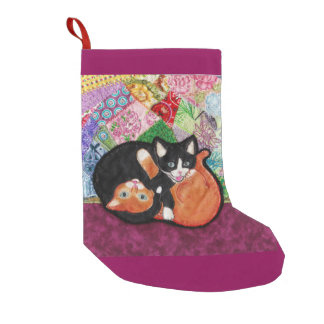 Kittens Playing on Heirloom Quilt Stocking Small Christmas Stocking