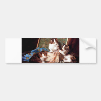 Kittens playing with a sewing box painting bumper stickers