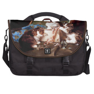 Kittens playing with a sewing box painting laptop bag