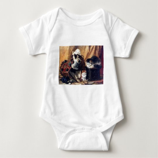Kittens playing with basket antique painting baby bodysuit