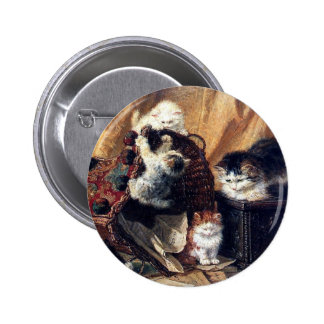 Kittens playing with basket antique painting pins