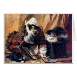Kittens playing with basket antique painting greeting card