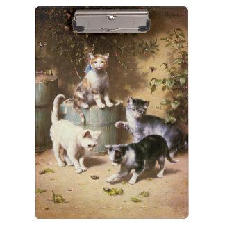 Kittens Playing with Beetles, Carl Reichert Clipboard