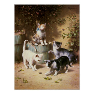Kittens Playing with Beetles, Carl Reichert Poster