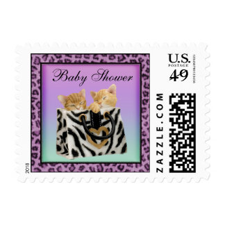 Kittens Purple Leopard Print Baby Shower Stamps