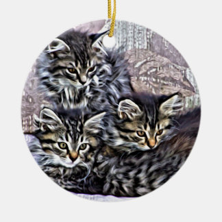 Kittens relaxing on a chair ceramic ornament