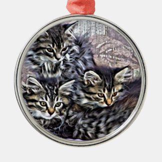 Kittens relaxing on a chair metal ornament