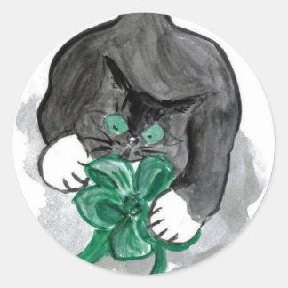 Kitten's Ribbon Hi-jinks Classic Round Sticker